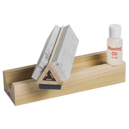 "Dan's Whetstone Tri-Hone Whetstone Mount - Wooden Storage Box, 7x1-5/8x1/2"" in See Photo - Closeouts"