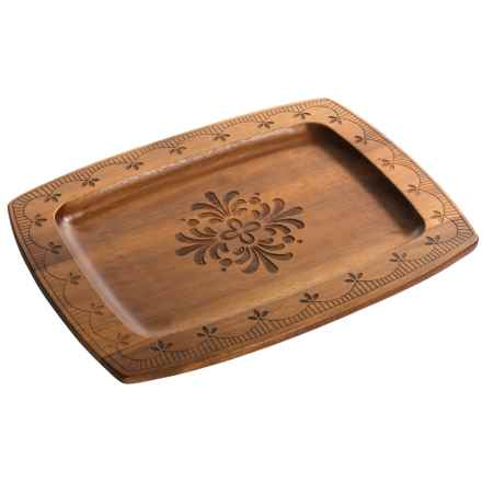 "Dansk Northern Indigo Etched Wood Rectangular Tray - 13x10"" in See Photo - Closeouts"