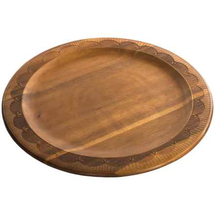 """Dansk Northern Indigo Etched Wood Round Platter - 14"""" in See Photo - Closeouts"""