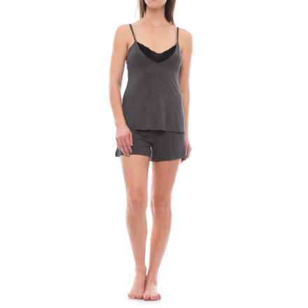 Danskin Tank Top and Shorts Pajamas - Built-In Bralette (For Women) in Charcoal Heather/Aurora Pink/Black - Closeouts