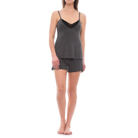 Danskin Tank Top and Shorts Pajamas - Built-In Bralette (For Women) in Charcoal Heather/Aurora Pink/Black
