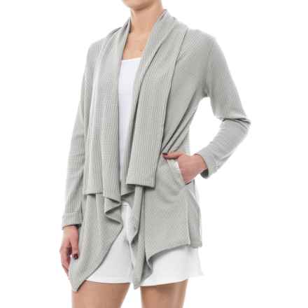 Danskin Waffle-Knit Cardigan Jacket - Open Front (For Women) in Light Heather Knit - Closeouts