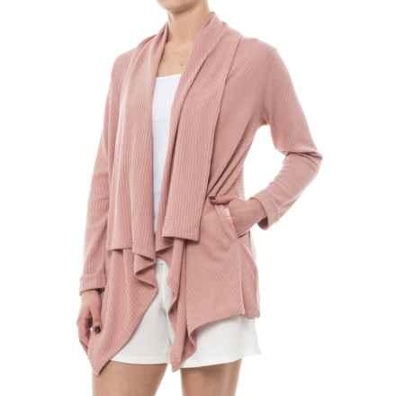 Danskin Waffle-Knit Cardigan Jacket - Open Front (For Women) in Pink Clay Knit - Closeouts