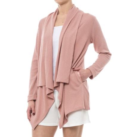 Danskin Waffle-Knit Cardigan Jacket - Open Front (For Women) in Pink Clay Knit