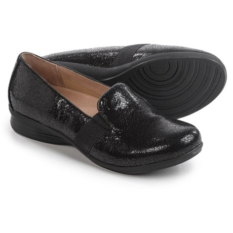 Dansko Addy Leather Shoes - Side Goring, Slip-Ons (For Women) in Black Crackle