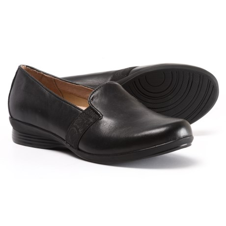 Dansko Addy Leather Shoes - Side Goring, Slip-Ons (For Women) in Black Nappa