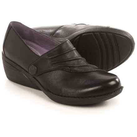 Dansko Aimee Wedge Shoes - Leather, Slip-Ons (For Women) in Black - Closeouts