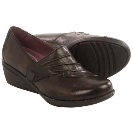 Dansko Aimee Wedge Shoes - Leather, Slip-Ons (For Women) in Brown - Closeouts