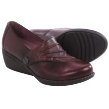 Dansko Aimee Wedge Shoes - Leather, Slip-Ons (For Women) in Wine - Closeouts