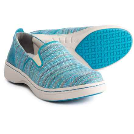 Dansko Belle Shoes - Slip-Ons (For Women) in Blue Textured Canvas - Closeouts