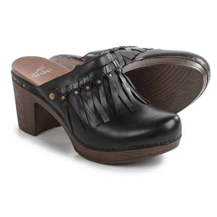 Dansko Deni Fringed Clogs - Leather (For Women) in Black - Closeouts