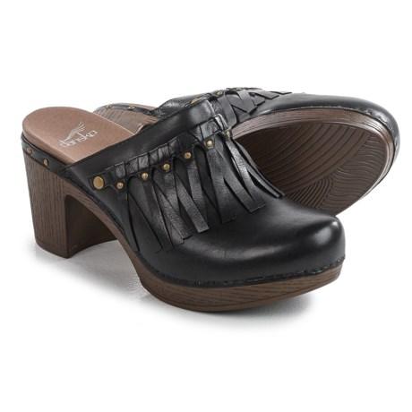 Dansko Deni Fringed Clogs - Leather (For Women) in Black