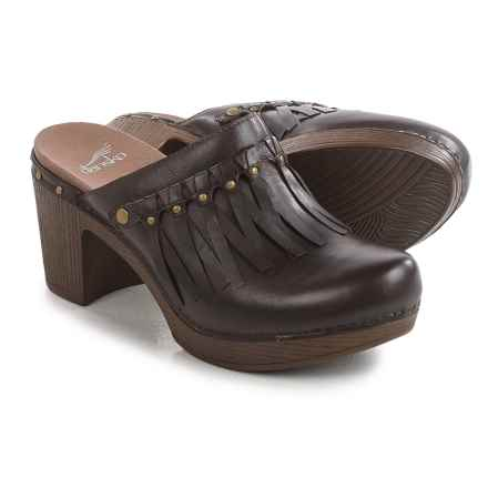 Dansko Deni Fringed Clogs - Leather (For Women) in Chocolate - Closeouts