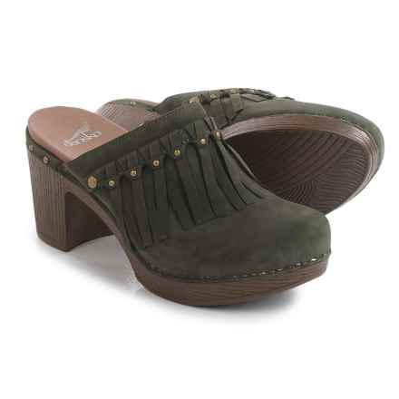 Dansko Deni Fringed Clogs - Leather (For Women) in Olive - Closeouts