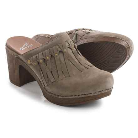 Dansko Deni Fringed Clogs - Leather (For Women) in Taupe - Closeouts