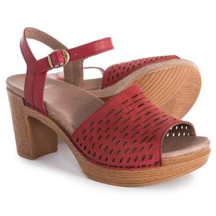 Dansko Denita Sandals - Nubuck (For Women) in Red Milled Nubuck