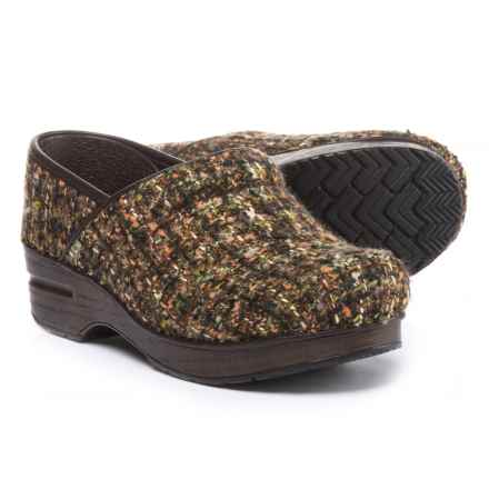 Dansko Fabric Pro Clogs - Closed Back (For Women) in Brown Texture -  Closeouts