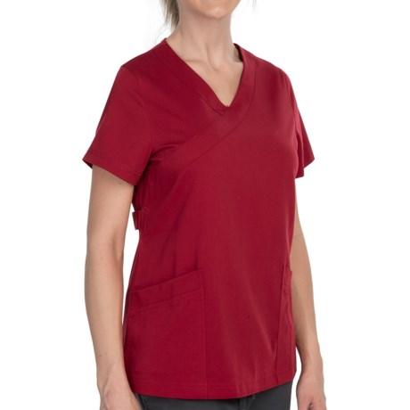 Dansko Gwen Mock Wrap Scrub Top - Short Sleeve (For Women) in Red