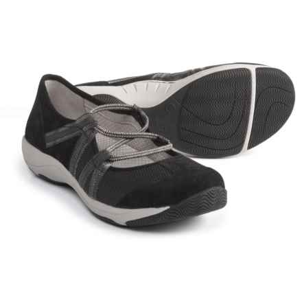 Dansko Honey Athletic Mary Jane Shoes - Slip-Ons (For Women) in Black Suede - Closeouts
