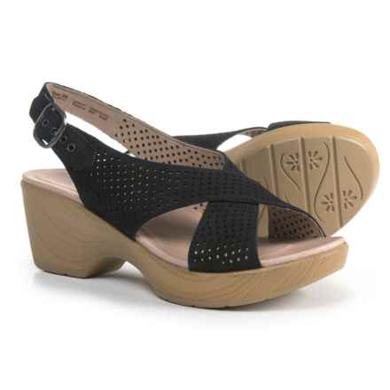 Dansko Jacinda Slingback Sandals - Leather (For Women) in Black Nubuck - Closeouts