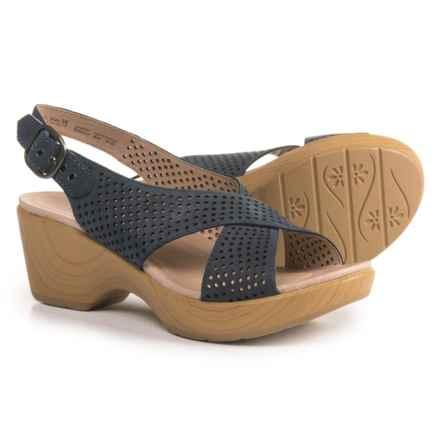 Dansko Jacinda Slingback Sandals - Leather (For Women) in Blue Nubuck - Closeouts