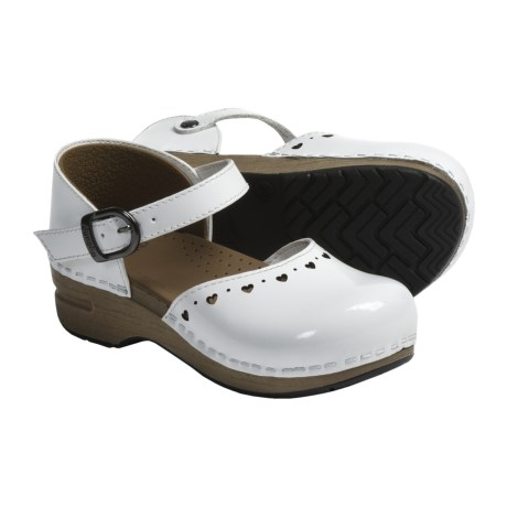 Dansko Jamie Mary Jane Shoes - Leather (For Girls) in White Patent