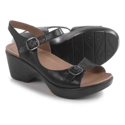 Dansko Joanie Sandals - Leather (For Women) in Black Full Grain - Closeouts