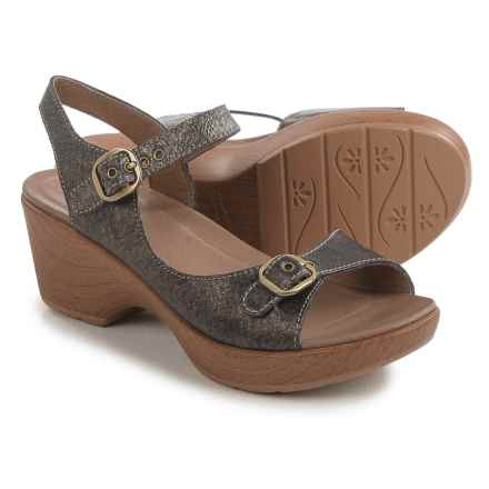 Dansko Joanie Sandals - Leather (For Women) in Pewter Leather - Closeouts
