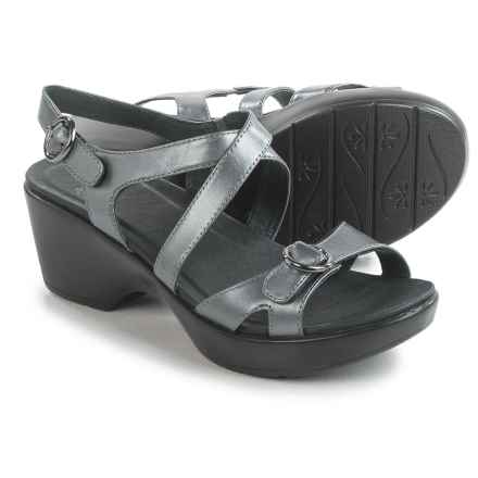 Dansko Julie Sandals - Leather (For Women) in Pewter Leather - Closeouts