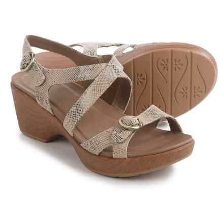Dansko Julie Sandals - Leather (For Women) in Taupe Snake - Closeouts