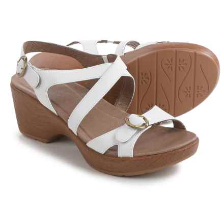 Dansko Julie Sandals - Leather (For Women) in White Leather - Closeouts