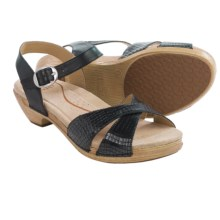 Dansko Larissa Sandals - Leather (For Women) in Black Croc - Closeouts