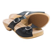 Dansko Lottie Sandals - Leather (For Women) in Black Full Grain - Closeouts