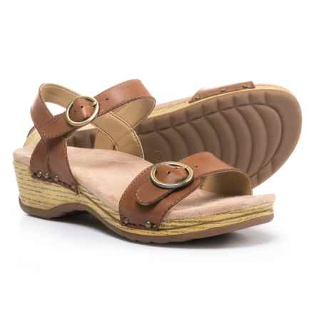 Dansko Mabel Wedge Sandals - Leather (For Women) in Camel - Closeouts