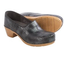 Dansko Marisol Leather Clogs - Leather (For Women) in Pewter Metallic Croc - Closeouts