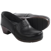 Dansko Mavis Clogs - Leather (For Women) in Black Full Grain - Closeouts
