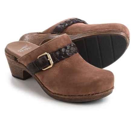 Dansko Melanie Strap and Buckle Clogs - Nubuck (For Women) in Amber Milled Nubuck - Closeouts