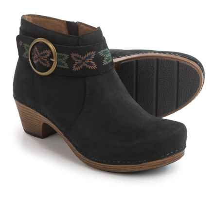 Dansko Mina Embroidered Ankle Strap Booties - Nubuck, Side Zip (For Women) in Black Nubuck - Closeouts