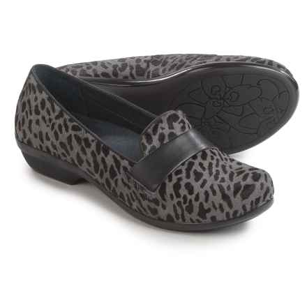 Dansko Oksana Shoes - Leather, Slip-Ons (For Women) in Grey Cheetah Calf Hair - Closeouts