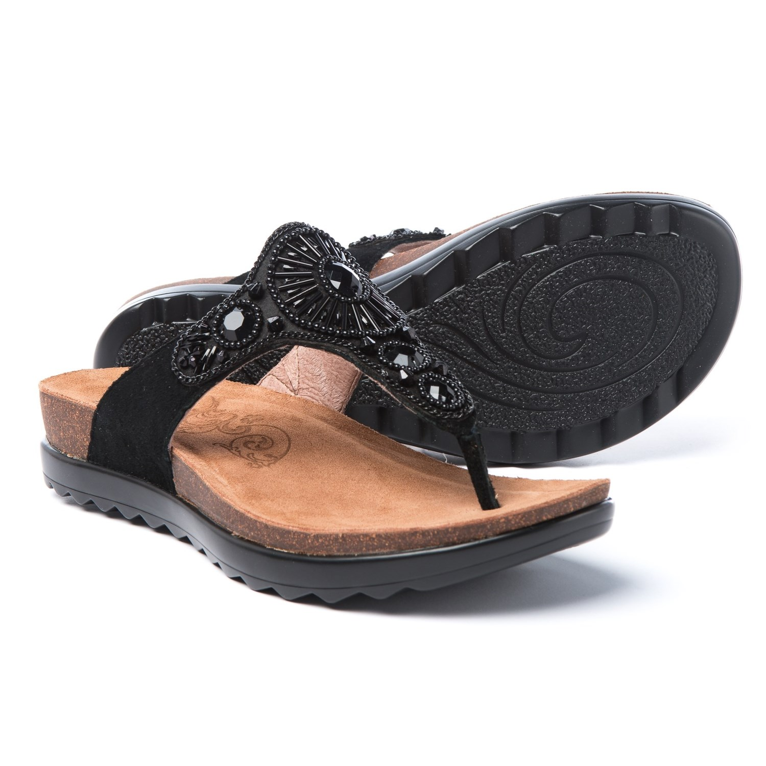 Dansko Pamela Jeweled Sandals - Leather (For Women) in Black Jewelled Suede  - Closeouts