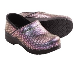 Dansko Professional Clogs - Leather (For Women) in Silver Vine Emboss