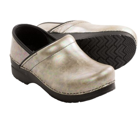 Dansko Professional Clogs - Leather (For Women) in Silver Opal