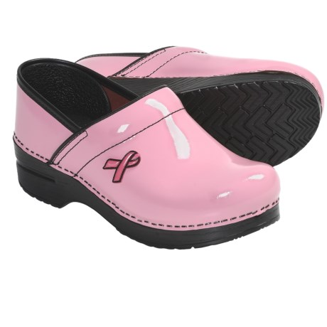 Dansko Professional Clogs - Patent Leather (For Women) in Pink Breast Cancer Awareness