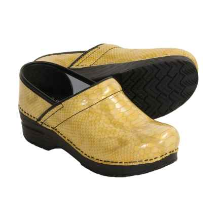Dansko Professional Python Print Clogs - Leather (For Women) in Yellow - Closeouts