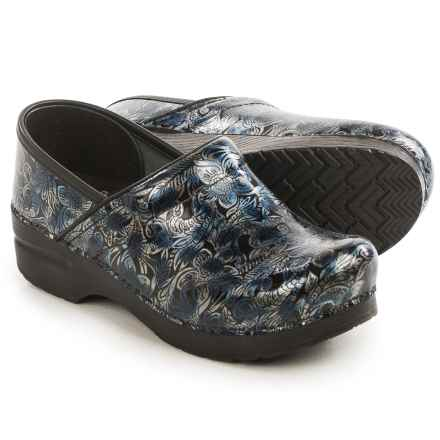 Dansko Professional Textured Clogs - Leather (For Women) in Silver/Blue Tooled - Closeouts