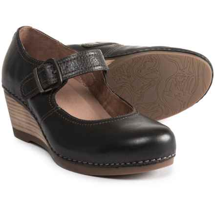 Dansko Sandra Wedge Mary Jane Shoes - Leather (For Women) in Black Milled Nappa - Closeouts