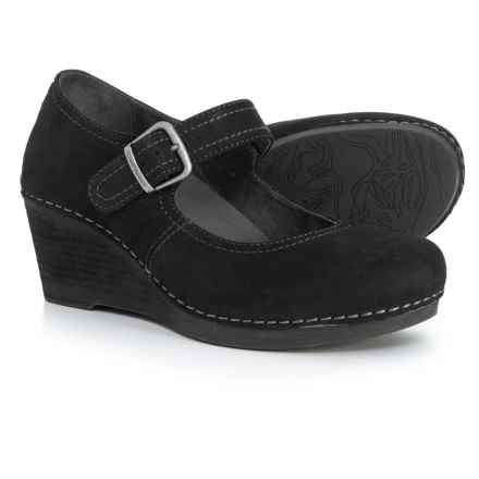 Dansko Sandra Wedge Mary Jane Shoes - Leather (For Women) in Black Nubuck
