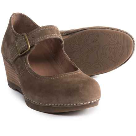 Dansko Sandra Wedge Mary Jane Shoes - Leather (For Women) in Taupe Suede - Closeouts