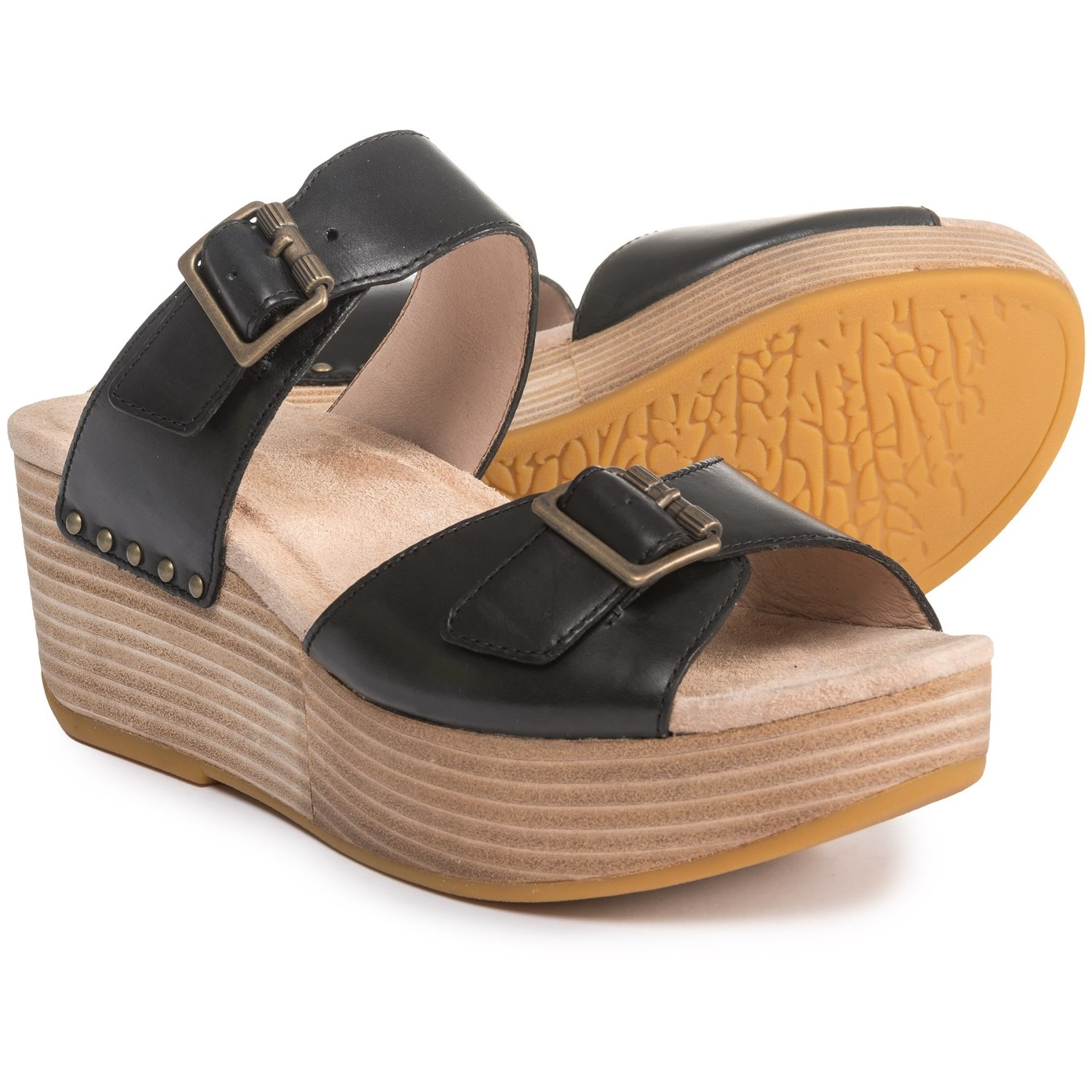 Dansko Selma Two-Buckle Wedge Sandals - Leather (For Women) in Black  Burnished ...