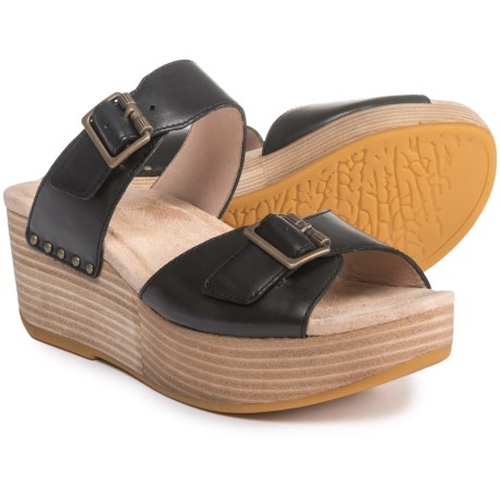 Dansko Selma Two-Buckle Wedge Sandals - Leather (For Women) in Black Burnished